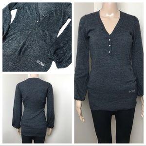 BCBG Maxazria V Neck Sweater with Rhinestones M